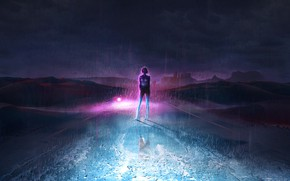 Picture Style, Girl, Background, Light, Style, Night, Rain, Bike, Road, Illustration, Characters, Pearls, Synth, Retrowave, Synthwave, …