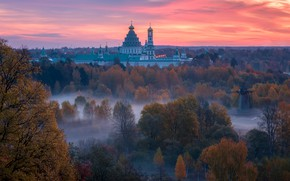 Picture autumn, trees, landscape, nature, fog, dawn, morning, the monastery, Istra, Vitaly Levykin, The New Jerusalem