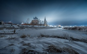 Picture winter, snow, landscape, nature, river, dawn, village, morning, Cathedral, Dunilovo, Vitaly Levykin, Thesis