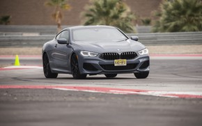 Picture asphalt, coupe, track, BMW, 2018, gray-blue, 8-Series, 2019, M850i xDrive, Eight, G15