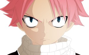 Picture look, face, white background, guy, Fairy Tail, Natsu Dragneel, Natsu Dragneel, by alexanj