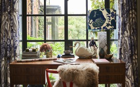 Picture Villa, lamp, interior, window, Desk, Arts Crafts house
