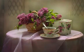 Picture table, tea, Cup, lilac