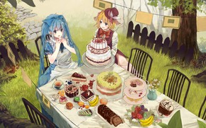 Picture table, the fence, chairs, surprise, the tea party, bananas, sweets, cake, hat, vocaloid, Hatsune Miku, …