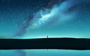 Picture water, girl, the milky way, postapokalipsis, by Gracile