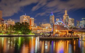 Picture the sky, clouds, trees, bridge, lights, river, building, home, the evening, Australia, lights, skyscrapers, Melbourne