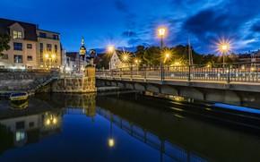 Picture lights, the evening, Germany, channel, Stralsund, Stralsund