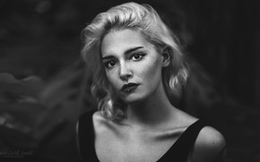 Picture look, model, portrait, makeup, piercing, hairstyle, blonde, black and white, beauty, bokeh, Nerea, Mercedes Castillo …