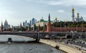 Picture bridge, the city, river, building, road, home, Moscow, tower, The Kremlin, promenade, Sergey Sergeev