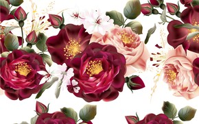 Picture flowers, retro, roses, texture, white background, buds, vintage