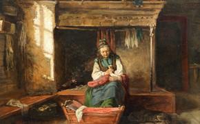 Picture interior, picture, genre, Feeding Baby, Adolf von Becker, Adolf von Becker