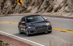 Picture Audi, sedan, on the road, Audi A6, 2020, Audi S6, US-version
