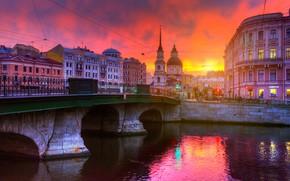 Picture bridge, the city, river, building, home, morning, Peter, Saint Petersburg, Fontanka, Ed Gordeev, Eduard Gordeev, …