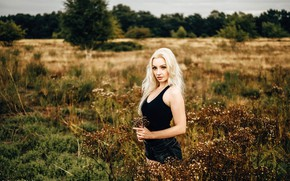 Picture field, grass, look, trees, pose, model, shorts, portrait, makeup, Mike, figure, hairstyle, blonde, is, nature, …