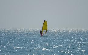 Picture sea, horizon, sail, Windsurfing