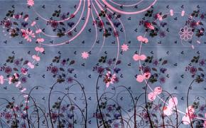 Picture flowers, design, background, pattern, texture, decoration