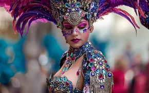 Picture decoration, background, model, portrait, feathers, makeup, outfit, bokeh, headdress, Vicente Concha