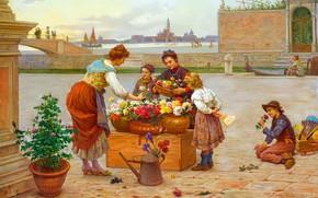 Picture Flowers, Girls, Children, Picture, Antonio Paoletti, Antonio Paoletti, Venetian flower sellers, Итальянский живописец