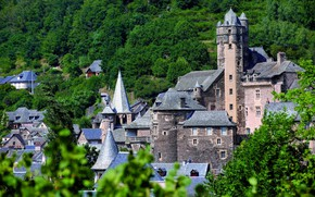 Picture the city, France, panorama, fortress, Averon, Aveyron, medieval architecture, Эстен, Château d'Estaing, Шато д'Эстен