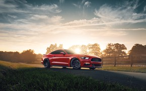Picture sunset, Mustang, Ford, 2018, Mustang GT, by Jimmy Zhang