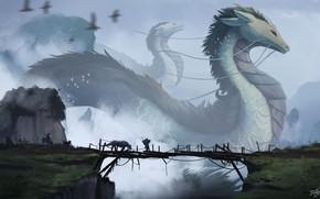 Picture fantasy, bridge, art, rocks, birds, people, artist, digital art, artwork, giant, mist, dragons, creature, wooden …