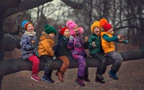 Picture autumn, trees, joy, nature, children, Marianne Smolin