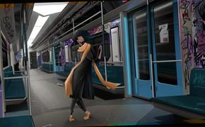 Picture girl, metro, dance, art, art girl
