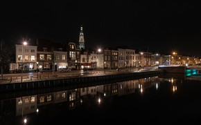 Picture trees, machine, night, bridge, lights, home, lights, channel, Netherlands, Middelburg