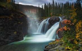 Picture autumn, forest, mountains, river, Norway, waterfalls, Norway, Hemsedal, Hemsedal, Rjukandefossen Waterfall, River Mercadel, Waterfall Rjukandefossen, …
