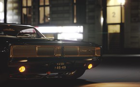 Picture Black, Night, Machine, Dodge, Car, Render, Charger, Muscle car, Dodge Charger R/T, Transport & Vehicles, …