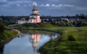 Picture the sky, clouds, landscape, nature, the city, reflection, river, dawn, home, morning, Church, Suzdal, Andrei, …