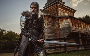 Picture look, armor, Church, male, sword, posing, cosplay, Geralt, The Witcher 3, Кристина Бородкина, фотограф Кристина …