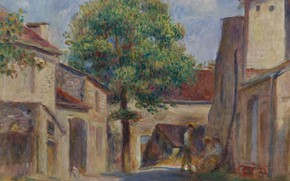 Picture landscape, house, picture, Pierre Auguste Renoir, Pierre Auguste Renoir, Backyard Farm in essua