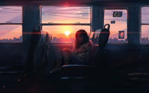 Picture girl, the sun, sunset, art, bus, art, Aenami, by Aenami, Alena Aenam The, 2019, by …