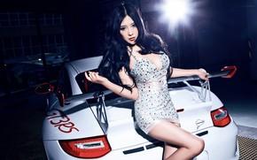 Picture look, Girls, Porsche, beautiful girl, white car, beautiful dress