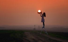 Picture girl, grass, twilight, photography, landscape, nature, sunset, photographer, model, sun, dusk, environment, situation, basket, path, …