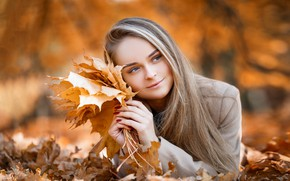 Picture autumn, leaves, girl, smile, lies, Pauline, Maxim Romanov
