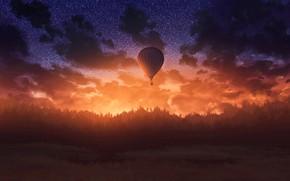 Picture dark, wallpaper, twilight, sunset, art, air balloon