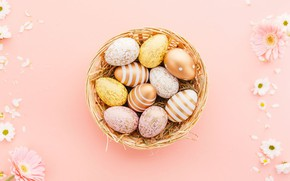 Picture flowers, basket, eggs, Easter, easter
