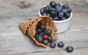 Picture berries, blueberries, wood, waffle cone