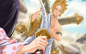 Picture girl, sword, guy, Fairy Tail, Fairy tail