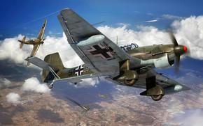 Picture Hawker Hurricane, Ju-87, Air force, Dive bomber, Ju.87R-2