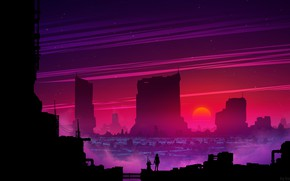 Picture Sunset, The sun, Music, The city, Style, Silhouette, Landscape, Style, Illustration, Synth, Retrowave, Kvacm, Synthwave, …