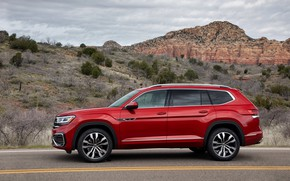 Picture red, Volkswagen, side view, SUV, Atlas, 2020
