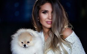 Picture look, girl, model, hair, dog, lips, beauty, Spitz, Anatoly Oskin