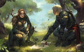 Picture girl, sword, fantasy, forest, armor, trees, boy, map, artist, weapons, elf, bow, artwork, warrior, fantasy …