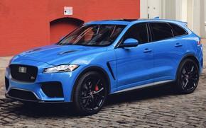 Picture car, machine, blue, street, Jaguar, pavers, side, blue, crossover, SVR, F-Pace, Jaguar F-Pace SVR, Jaguar …