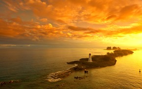 Picture sea, the sky, Islands, clouds, trees, sunset, stones, lighthouse, home, horizon, glow, the view from …