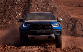 Picture blue, Ford, front view, Raptor, pickup, 2018, Ranger