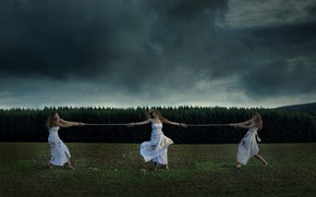 Picture Nature, Clouds, Grass, Dirt, Girls, Mood, Forest, Trees, Dress, Rope, Situation, Moods, Dead leaves, Dark …